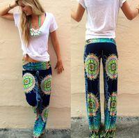 palazzo pants - 2015 summer women Wide Leg pants Casual High Waist Flare Long Pants Palazzo Trousers Plus Size floral print classic exuma pant preppy