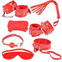 7 / sets bondage mask - Chastity Belt BDSM Bondage KIT SET Neck Collar Whip Ball Handcuffs Rope Mask Fur RED NEW