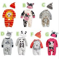 Wholesale Baby Romper Summer Hot Sale Toddler Clothes Set Hat Romper Set Cartoon Pattern Long Sleeve Newborn One Piece Clothes T1318