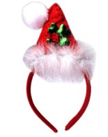 Wholesale Boutique women children girl headbands Christmas hat Santa Claus feather diamond sequins event party COSPLAY headband charm jewelry gift red