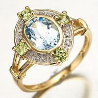 Cheap Hot Gemstone Jewelry New Fashion R041YBA Size 6 to 10 Blue Aquamarine Cz 18K Yelow Gold Filled Wedding Rings For Women Gift Free Shipping