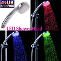 Wholesale US STOCK Rainfall Color Changing LED Chuveiro Shower Head Automatic Control Sprink ABS Chroming Ducha Rain Showers Heads Accessories