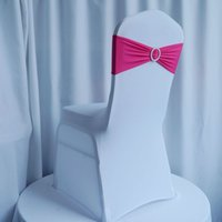 Wholesale fuschia wedding elastic spandex chair cover bands with rhinestone buckle pieces per