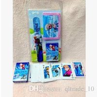 Wholesale 2015 New Frozen Hello KT Mickey McQueen Snow White kids Watches play cards and wallets sets Kids Fashion kids birthday gift LJJC947