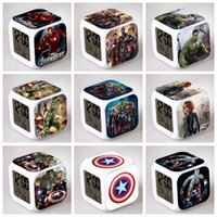 america alarm - Free DHL Super Hero Reveil Led Table Clock The Avengers Ironman Captain America Hulk Thor Black Widow Hawkeye Alarm Clock