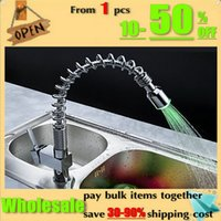 Wholesale Kitchen RGB LED pull out sink basin mixer tap chrome swivel brass function Faucet KF026