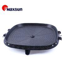 Wholesale Korean barbecue dish pulse fresh portable smokeless non stick pan roasting dish rectangular outdoor essential H