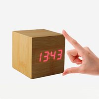 desktop wooden - High Quality Cube LED Alarm Clock Temperature Sounds Control display electronic desktop Digital Wooden table clocks Free Ship FG07110