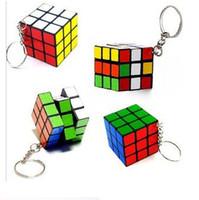 puzzle ring - Magic Cube Key Rings Keychain Rubik Cube x3x3cm Puzzle Magic Game Toy Key Keychain