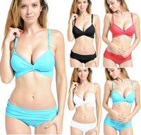 Cheap 2015 Women Bandage Swim Wears Sexy Cover Up 2 pieces Swimsuit Trikini Fitness Wears Push-up Bikini Set S M L 4 Colors