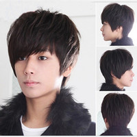 Wholesale New Aircraft boy wig men handsome students short hair male hair fleeciness realistic wig inclined bang