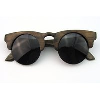 Wholesale Real Bamboo Wood Sunglasses China Dark Brown Color Half Rim Eyeglass Retro Style CR39 Lens R026BA