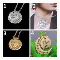 ali pendant - 600PCS I love you to the moon and back Necklace Round Alex Ali Pendant Moon Necklace Christmas Gift Chain Sun and Moon Necklace K5685