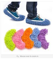 Wholesale 8 colors Multifunctional Chenille dawdler shoes cover unpick wash the floor mop slippers brushing shoes cover S00129