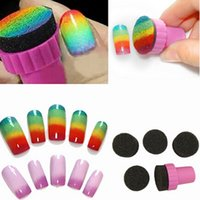 Wholesale Hot sell miraculous Nail Art Sponge Stamp Stamping Polish Template Transfer DIY Design Kit Nail Art Tools with nail sponges