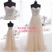 long corset - Cheap Champagne Tulle Evening Dresses Vintage Sweetheart Sequined Bodice Crystal Floor Length Long Formal Prom Gowns with Corset CPS089