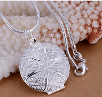Wholesale Lockets Circle pendants necklace for Key Ring chains sterling silver p167 For Holidays Gift