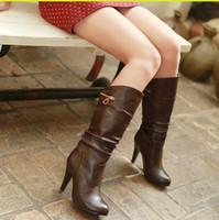 designer boots women - 2014 New Fashion Mid calf High Women Boots Brand Spring Winter High Heel Boots For Women Designer Pu Leather Boots Women Shoes