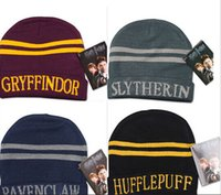 Wholesale Harry Potter college hats Gryffindor cap Slytherin beanies Ravenclaw Hufflepuff winter hat Wool Hat Cap college beanies