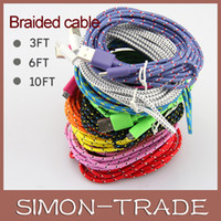 Wholesale Fabric Braided Micro USB Charge Charging Cable Adapter Data Sync Nylon line cord M FT M FT M FT for Samsung