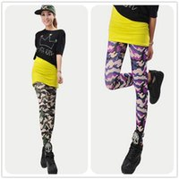 Wholesale The spring and autumn period the new style Color camouflage High elastic milk silk of tall waist nine pants Leggings