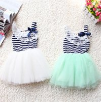 new clothes styles - Girls Clothes Hot Sale girls Dresses Children New Princess Striped Dress Lace Flower Kids dresses Sleeveless Wedding Baby Girls dress