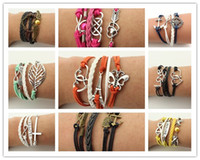 Wholesale 10pcs Designs Leather Bracelet Antique Cross Anchor Love Peach Heart Owl Bird Believe Pearl Knitting Bronze Charm Bracelets