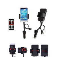 Wholesale 5V Universal Car FM Transmitter Mobile Phone Stand Holder for Samsung HTC Sony LG Moto USB Charger Wireless Handsfree with Package