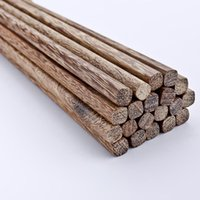 Wholesale pairs Natural mahogany wood green of high end cutlery wooden chopsticks set
