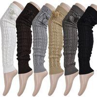 Wholesale Scarves Korea - 2016 Korea Socks Kneepad Women's Ladies' Warm Wool Knit Crochet Winter Leg Warmer Socks dark light Gray  black white brown free shipping