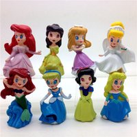 beauty free snow - Nice Princess figures cinderella belle Snow White set of New Princesses PVC figure Beauty girls toys dolls Keychain DHL