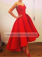 affordable evening wear - 2016 Red Sweetheart Hi Lo Prom Dresses Plus Size Satin Back Zipper Ruffles Gorgeous Sexy Girl Party Evening Wear Affordable