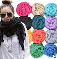 Wholesale Cotton Solid Color Scarf For Women Size cm colors mix B10