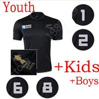Wholesale TOP quality New Zealand rugby all black kids shirts RWC Rugby child jerseys home shirts new size from XXS XXL