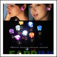 Wholesale New Unisex LED Earring Flashing Ear Stud Stainless Steel Colours Fashion Jewelry Rave Toys DHL