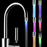 Wholesale 2015 retail fashion cute Change Changing Glow LED Light Water Stream Faucet Tap for Bathroom Kitchen