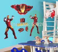 Wholesale Large Super Iron Man Hero The Avengers Art Vinyl Wall Stickers Decal Kids Decor