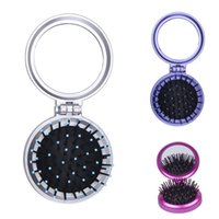 Wholesale Lovely Portable Woman Cosmetic Make Up Mirror Comb Set Lady Fold Pocket Mirror Christmas Gift Colors Choose ZXW
