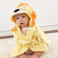 al por mayor muchachos toallas de baño-2014 muchacho de la muchacha al por menor de baño niños toalla de baño Bebé animal bata de baño / baño encapuchada del bebé / niños terry bebé / traje de bebé GLADBABY
