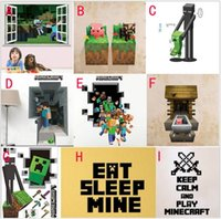 Paper Home Decor - Minecraft wall stickers decorations Hot selling cartoon minecraft wall paper home decor D removable pvc Kids Room Decal cm DHL FREE