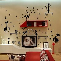 bedroom bedside cabinets - wall stickers home decor Three generations of removable wall stickers television background Foreign bedside cabinet decorative wall sticker