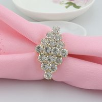 Wholesale Gold Napkin Rings Rhombus METAL Party Napkin Rings Weddings Supplies Table Decoration Accessories Wedding Napkin Rings Crystal G23