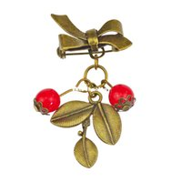 Wholesale 2015 Vintage Brooch Christmas Popular Cute Cherry Brooches For Women Bowknot Leaf Adorn Plant Brooch Gift For Girl