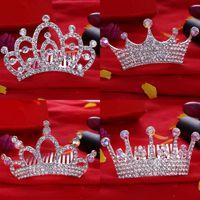 Wholesale 12PCS KIDS Crown Princess combs Mini Twinkle Rhinestone Diamante Bridal Princess Crown Hair Comb Hair Clip Tuck Tiara Party Wedding BFH593