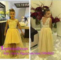 Amarillo Alto Bajo Flor Chica Vestidos Para Bodas Bateau Backless Encaje Top Niñas Vestidos Tulle Niños Pageant Vestidos Formal