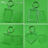 blank keyrings - Blank Acrylic Keychains Insert Photo plastic Keyrings Square Key Rectangle heart circular accessories