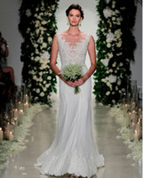 anne barge gowns - 2016 Anne Barge Sheath Lace Wedding Dresses Sweep Train Illusion Neckline Long Bridal Dresses with Appliques Custom Made Wedding Gowns
