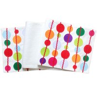 applique table runner - Multicolor Round Applique Decoration Embroidered White Christmas Table Runner