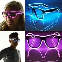 achat en gros de nuances obturateur de lumière-Obturateur Lumière El Wire Glow Shades EDM EDC Rave Party Bar Accessoire Eyeswear Lunettes de soleil Music-Box