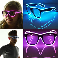 Wholesale Shutter Light Up El Wire Glow Shades EDM EDC Rave Party Bar Eyeswear Accessory Sunglasses Music Box